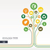 Abstract ecology background with connected circles, integrated flat icons. Growth flower concept with eco, earth, green, recycling, nature, sun, car and home icon. Vector interactive illustration.