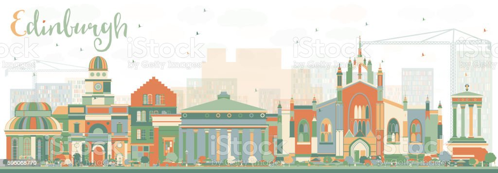 Abstract Edinburgh Skyline with Color Buildings. royalty-free abstract edinburgh skyline with color buildings stock vector art & more images of abstract