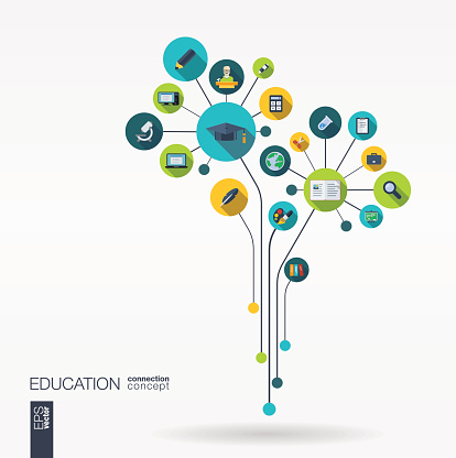 Abstract education background with lines, connected circles, integrated flat icons.