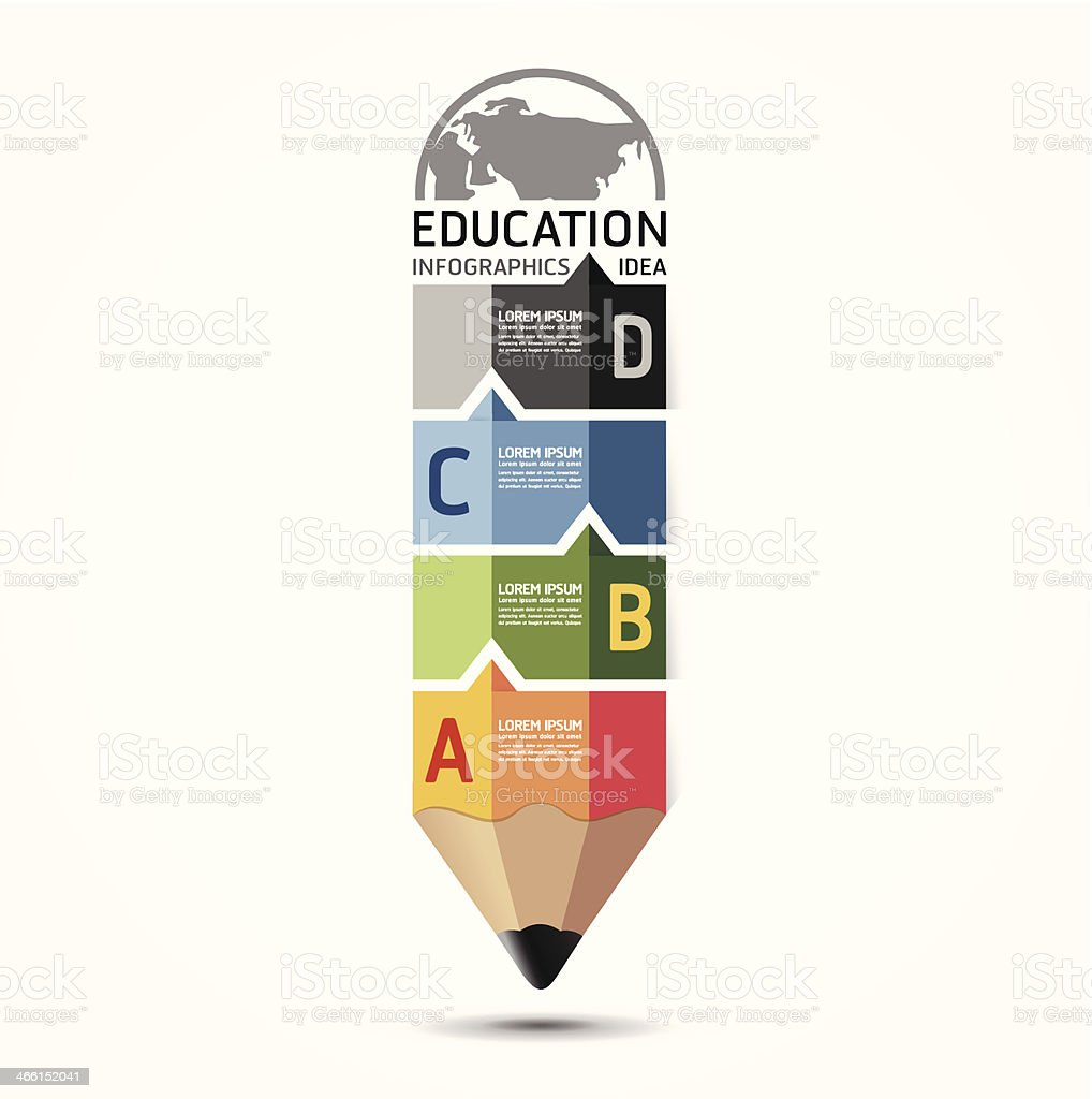 Abstract education infographic in pencil shape vector art illustration