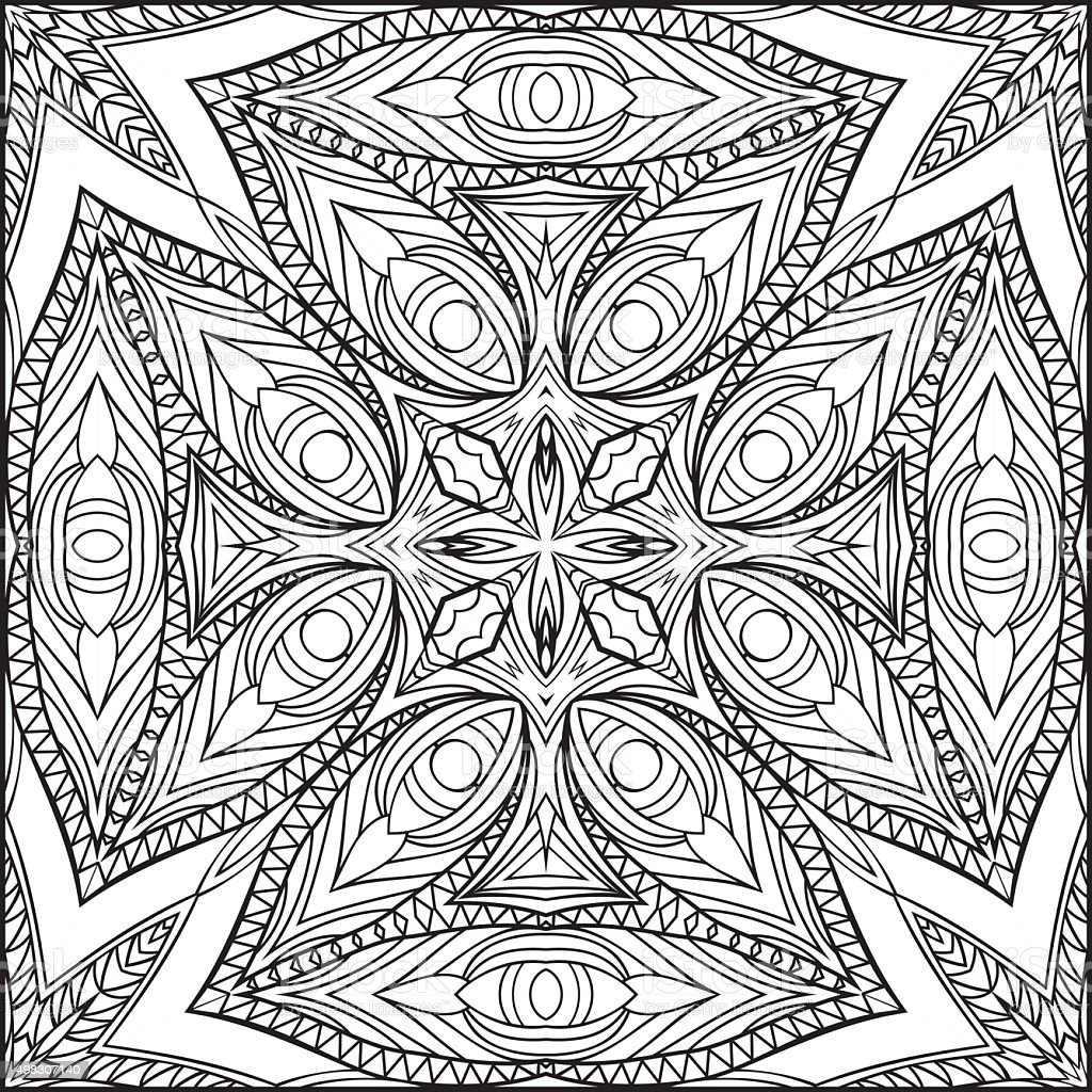 abstract egyptian cross zentangle style black and white ornament royalty free stock vector art