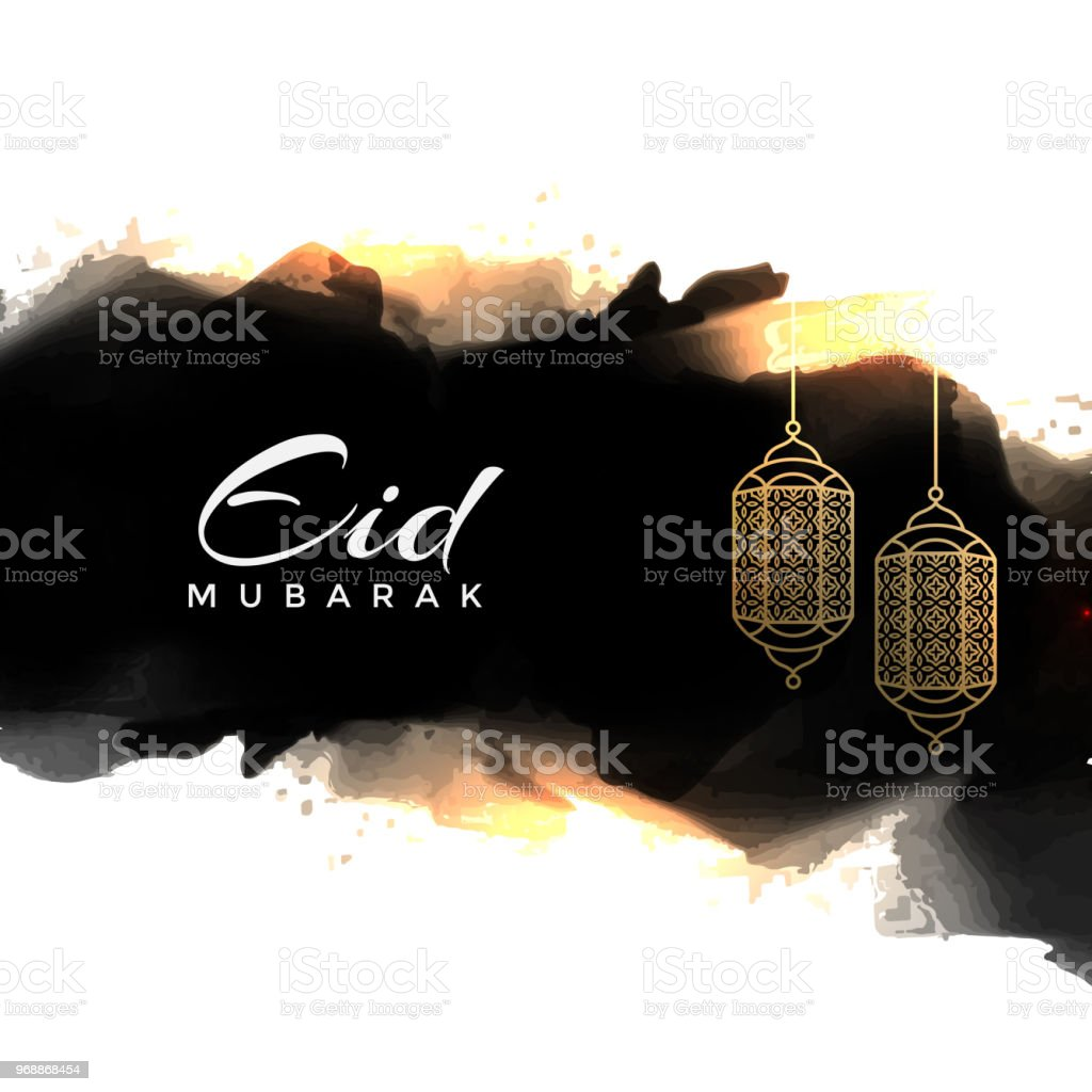 abstract eid mubarak greeting with hanging lamps vector art illustration