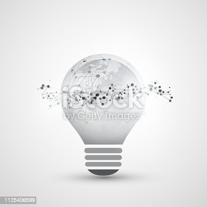 Abstract Black and White Modern Alternative Energy, Global Digital Network Connections, IT or Technology Concept - Illustration in Editable Vector Format