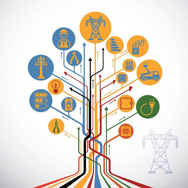 ilustraciones, imágenes clip art, dibujos animados e iconos de stock de abstracto árbol de electricidad - amperímetro