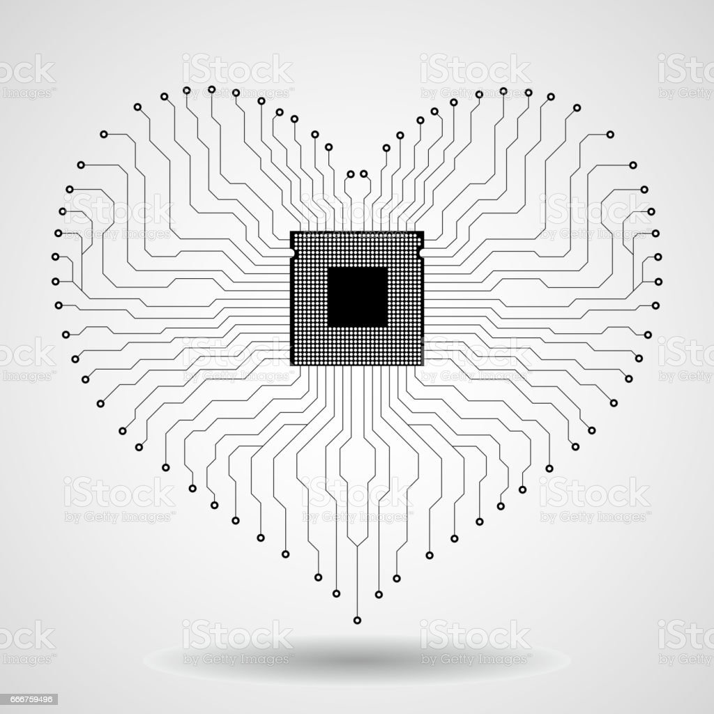 Abstract Electronic Circuit Board In Shape Of Heart Stock Vector Art Logo Royalty Free