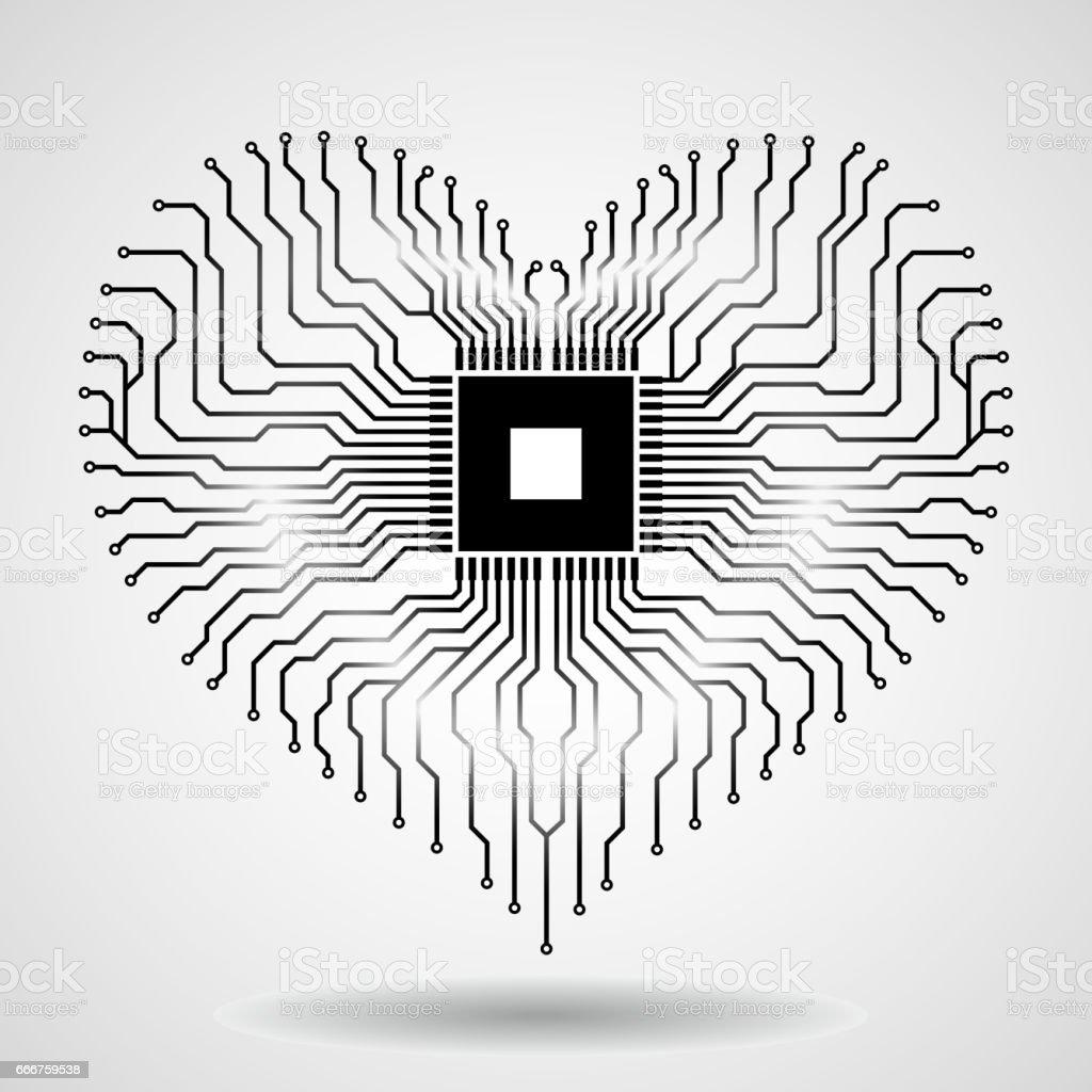 Circuit Imprimé Abstrait En Forme De Coeur – Cliparts vectoriels ...