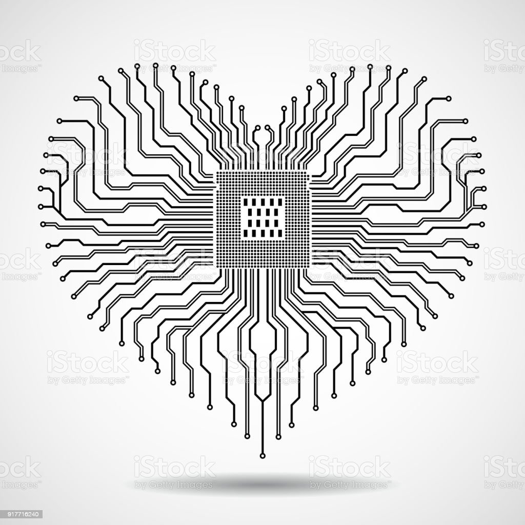 Abstract Electronic Circuit Board With Cpu In Shape Of Heart Stock Old Royalty Free Image