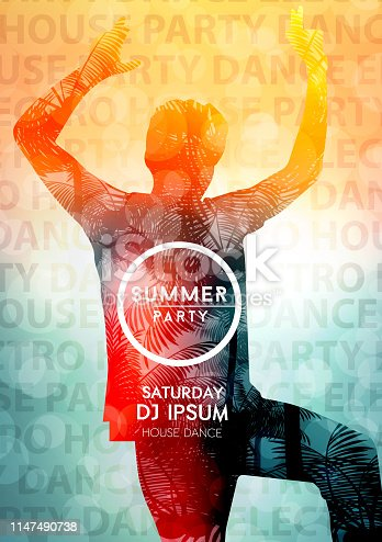 istock Abstract electronic dance party night poster 1147490738