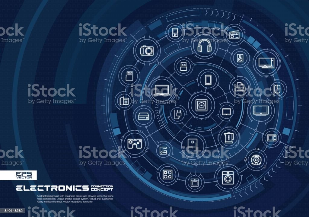 Abstract electronic technology background. Digital connect system with integrated circles, glowing thin line icons. vector art illustration