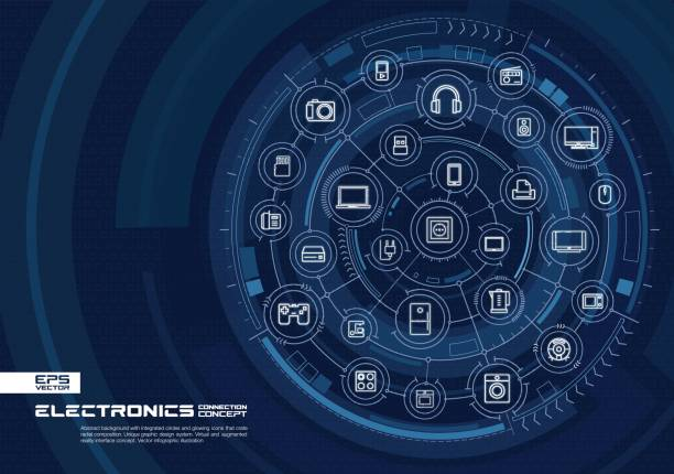 abstract electronic technology background. digital connect system with integrated circles, glowing thin line icons. - electrical wiring home stock illustrations, clip art, cartoons, & icons
