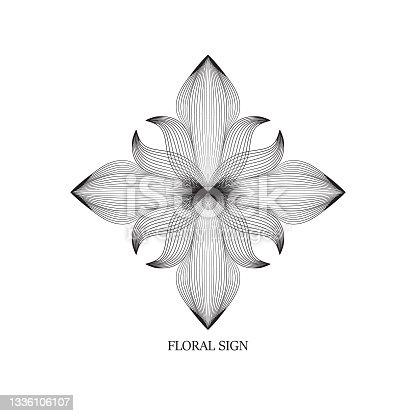 istock Abstract elegant flower logo icon line art design. Universal creative premium floral drawn symbol. 1336106107