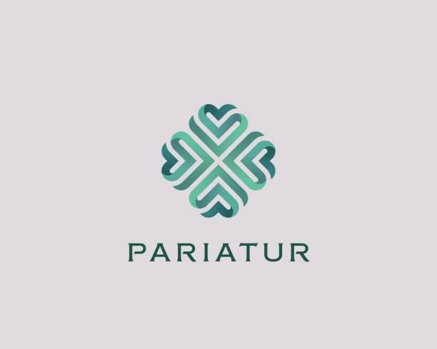 Abstract elegant heart flower logotype. Universal green premium symbol. Creative boutique vector ribbon logo. vector art illustration