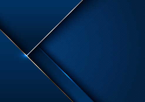 Abstract elegant template blue geometric with gold metallic line layer background. Luxury style.