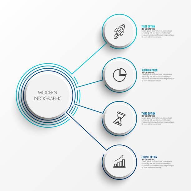 Resumen elementos de gráfico infografía plantilla círculos integrados en la etiqueta. Concepto de negocio con 4 opciones. De contenido, diagrama, diagrama de flujo, pasos, partes, timeline infografías, diseño de flujo de trabajo. - ilustración de arte vectorial