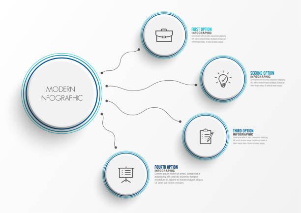 Resumen elementos de gráfico infografía plantilla círculos integrados en la etiqueta. Concepto de negocio con 4 opciones. De contenido, diagrama, diagrama de flujo, pasos, partes, timeline infografías, diseño de flujo de trabajo, - ilustración de arte vectorial