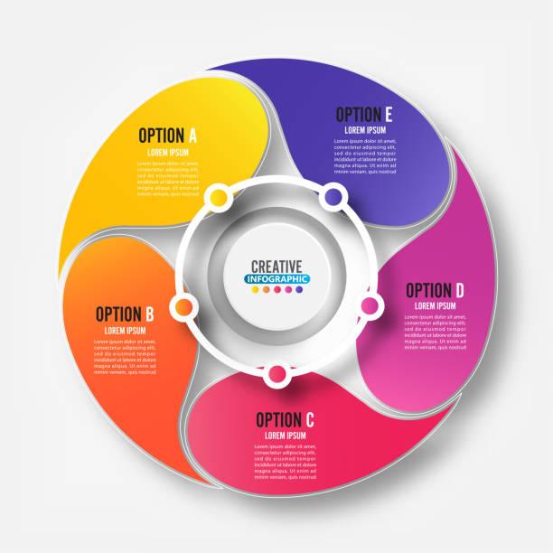 Elementos abstractos de la plantilla infográfica gráfica con etiqueta, círculos integrados. Concepto de negocio con 5 opciones. Para contenido, diagrama, diagrama de flujo, pasos, partes, infografías de línea de tiempo, diseño de flujo de trabajo, - ilustración de arte vectorial