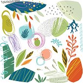 Set of scribble textures and hand drawn floral elements. Vector illustration.