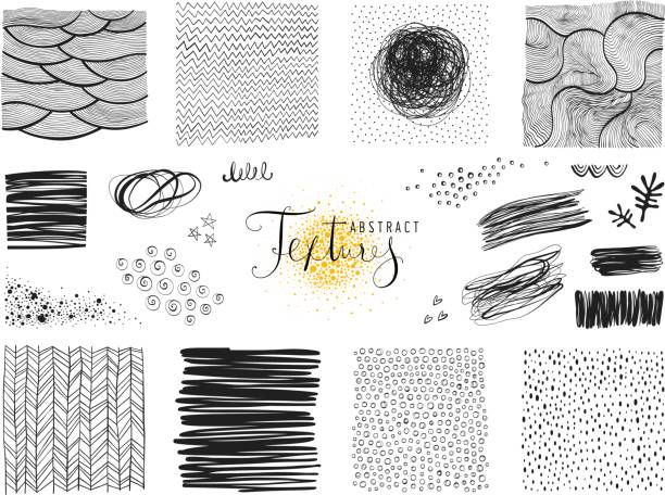 Abstract Elements_02 Set of abstract textures and scribble design elements. Vector illustration. black and white food stock illustrations