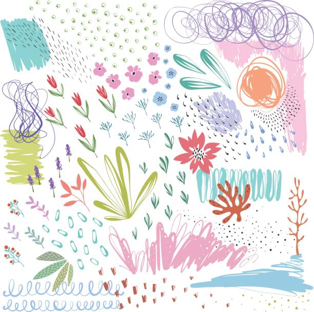 Abstract Elements_06 Set of scribble vector textures and doodle floral elements. Use for posters, art prints, greeting and business cards, banners, labels, book illustrations and other graphic designs. lavender plant stock illustrations