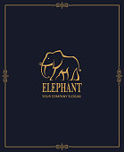 abstract elephant icon isolated on dark background