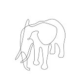 Abstract elephant. Isolated on white background. Vector outline illustration.