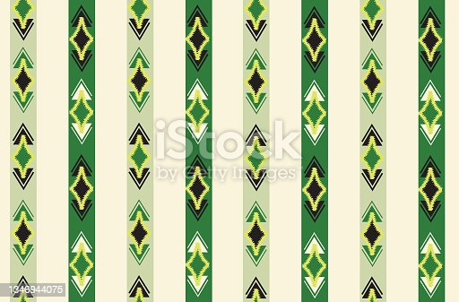 istock Abstract ethnic geometric seamless pattern. Wrapping ornamental stripy print. Wallpaper tribal decor. Traditional ikat striped folk background. Ethnic stripe motif for textile, embroidery 1346944075