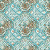 Abstract ethnic seamless pattern. Tribal art boho print, hand drawn ornament. Background texture, wallpaper, wrapping