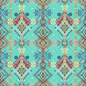 Abstract ethnic seamless pattern. Tribal art boho print, vintage geometric ornament. Background texture, wallpaper