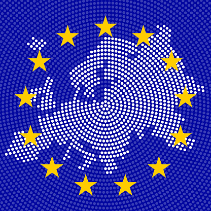 Abstract Europe map of radial dots on background EU flag
