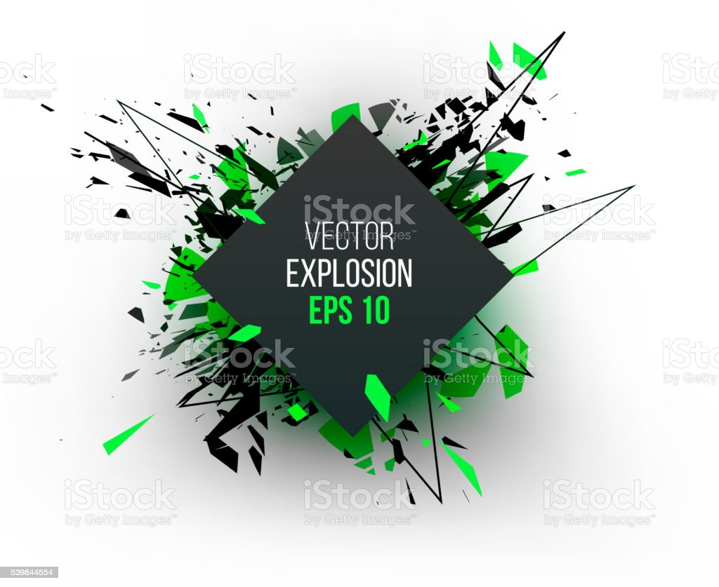 Abstract explosion cloud of black glass pieces on white backgrou vector art illustration