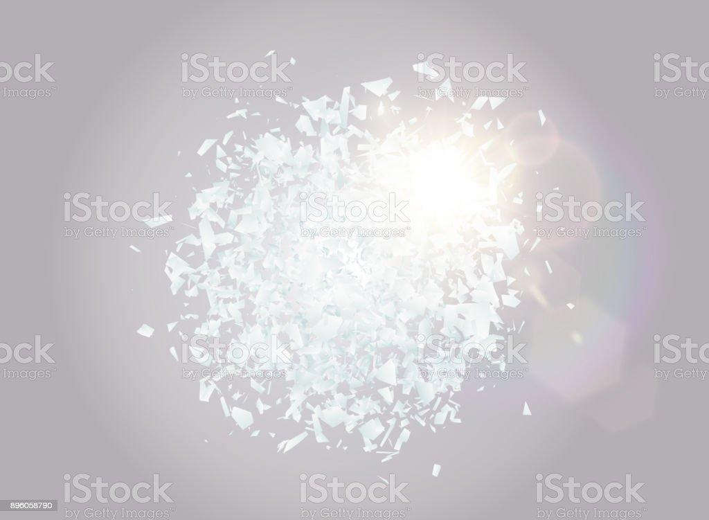 Abstrakte Explosion Wolke aus weißen Steinen mit Lens Flare Lichteffekt. Explosive Zerstörung. Partikel von Glasscherben auf transparenten Hintergrund. Vektor-illustration – Vektorgrafik
