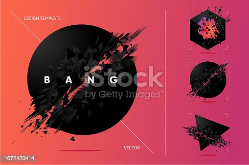 Abstract explosion shapes set with black particles. Bang futuristic design elements collection. Design templates.