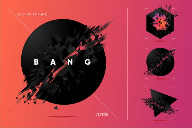 abstract explosion shapes set with black particles. - spark stock illustrations
