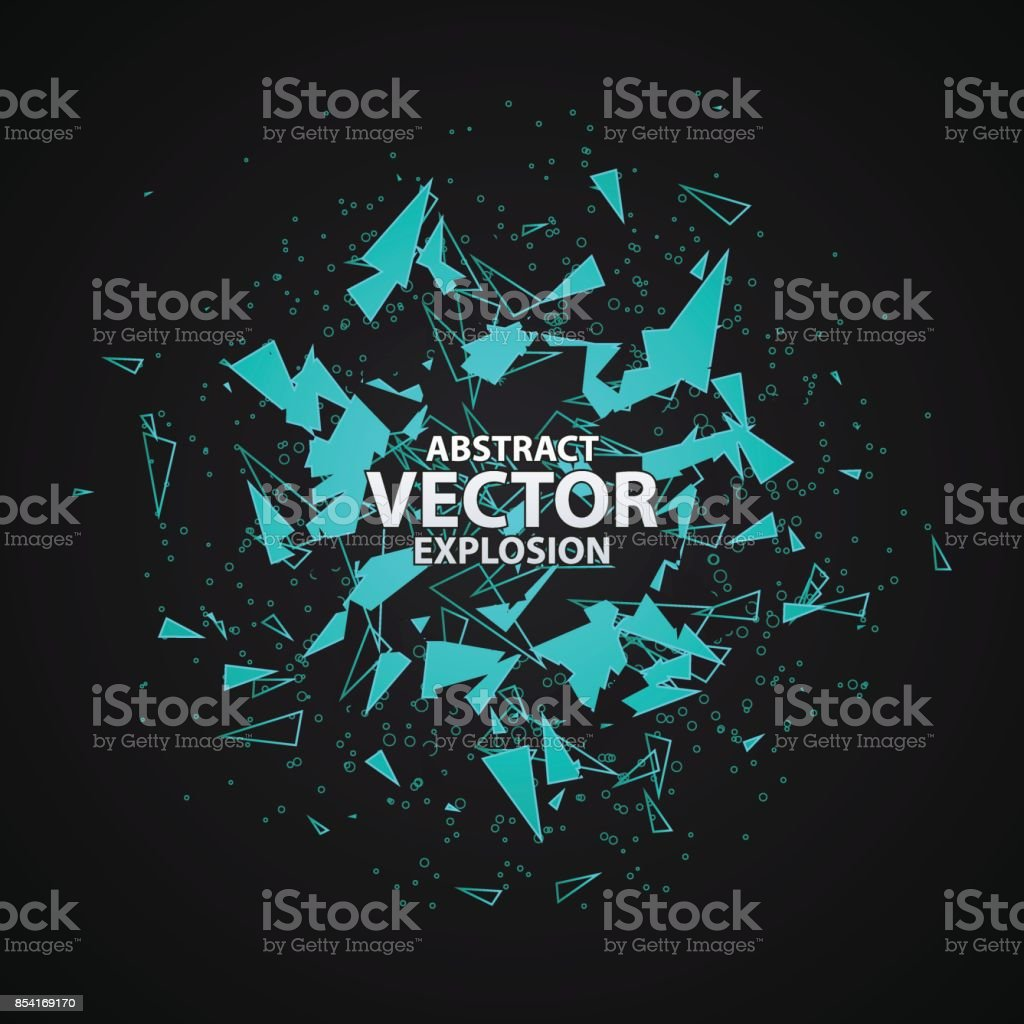 Abstract explosion with polygonal particles concept. vector art illustration