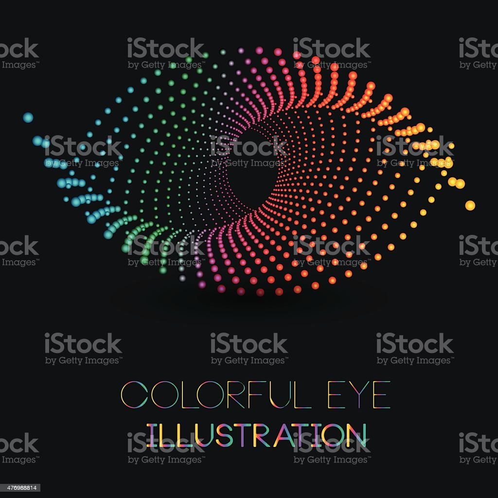 Abstrakte eye-illustration-design-Konzept mit bunten Pünktchen – Vektorgrafik