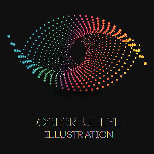 abstract eye illustration with colorful dotted design concept - close up stock illustrations, clip art, cartoons, & icons