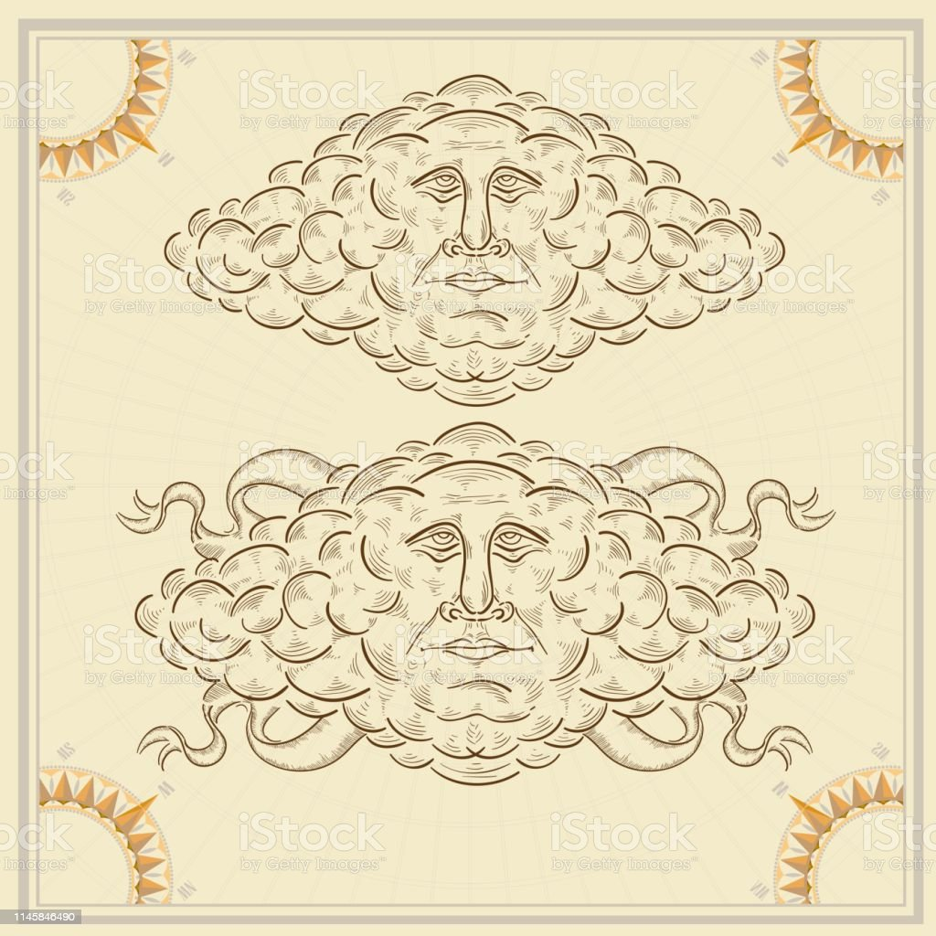 Abstract face inside of cloud. Vintage element of old map in...