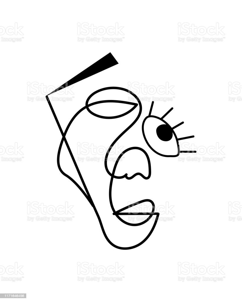 Abstract Face One Line Drawing Portrait Minimalistic Style