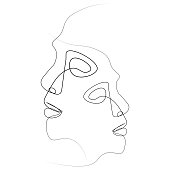Abstract face one line