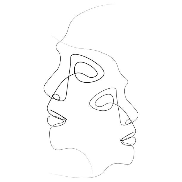 Abstract face one line Two silhouettes of people drawn with one line. Simple vector illustration. Isolated on a white background. contour line stock illustrations