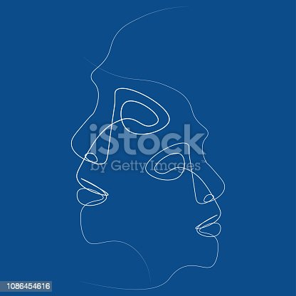 Two people silhouettes drawn with one line. Simple vector illustration. Separate on a colored background.