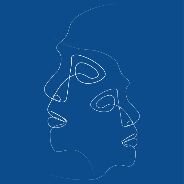 abstract face one line - antropomorficzny stock illustrations
