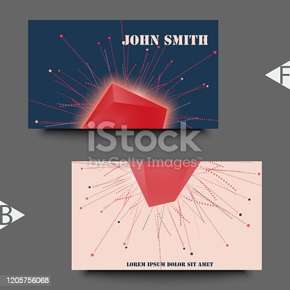 Abstract faceted element cracked into multiple fragments. Explosion effect. Business card template. Eps10 Vector illustration.