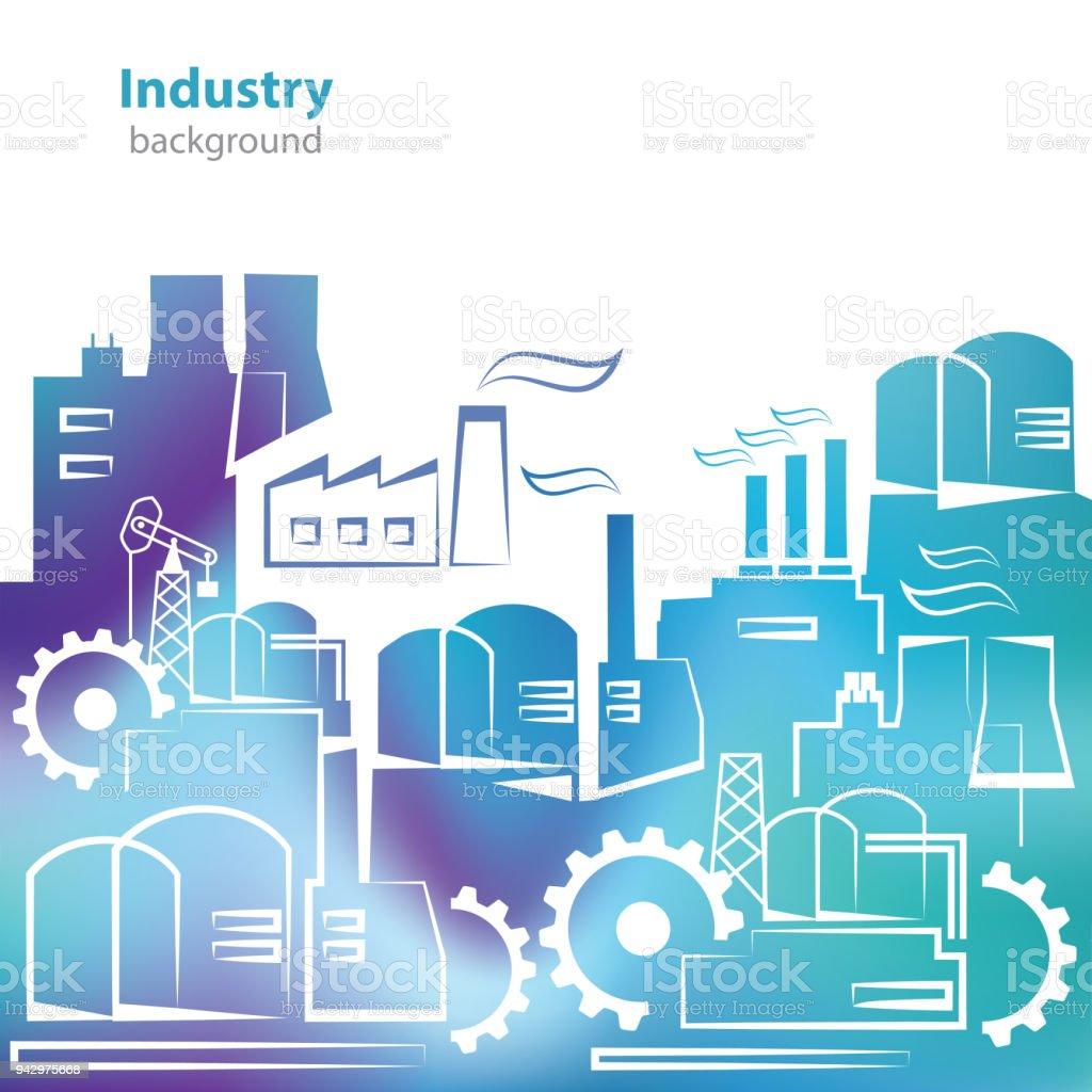 Environnement Pollution Republique Tcheque Affaires Batiment Industriel Fabrique Abstraite Silhouettes