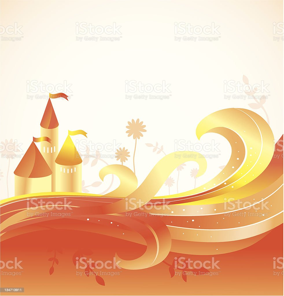 abstract fairy tale background with castle royalty-free stock vector art