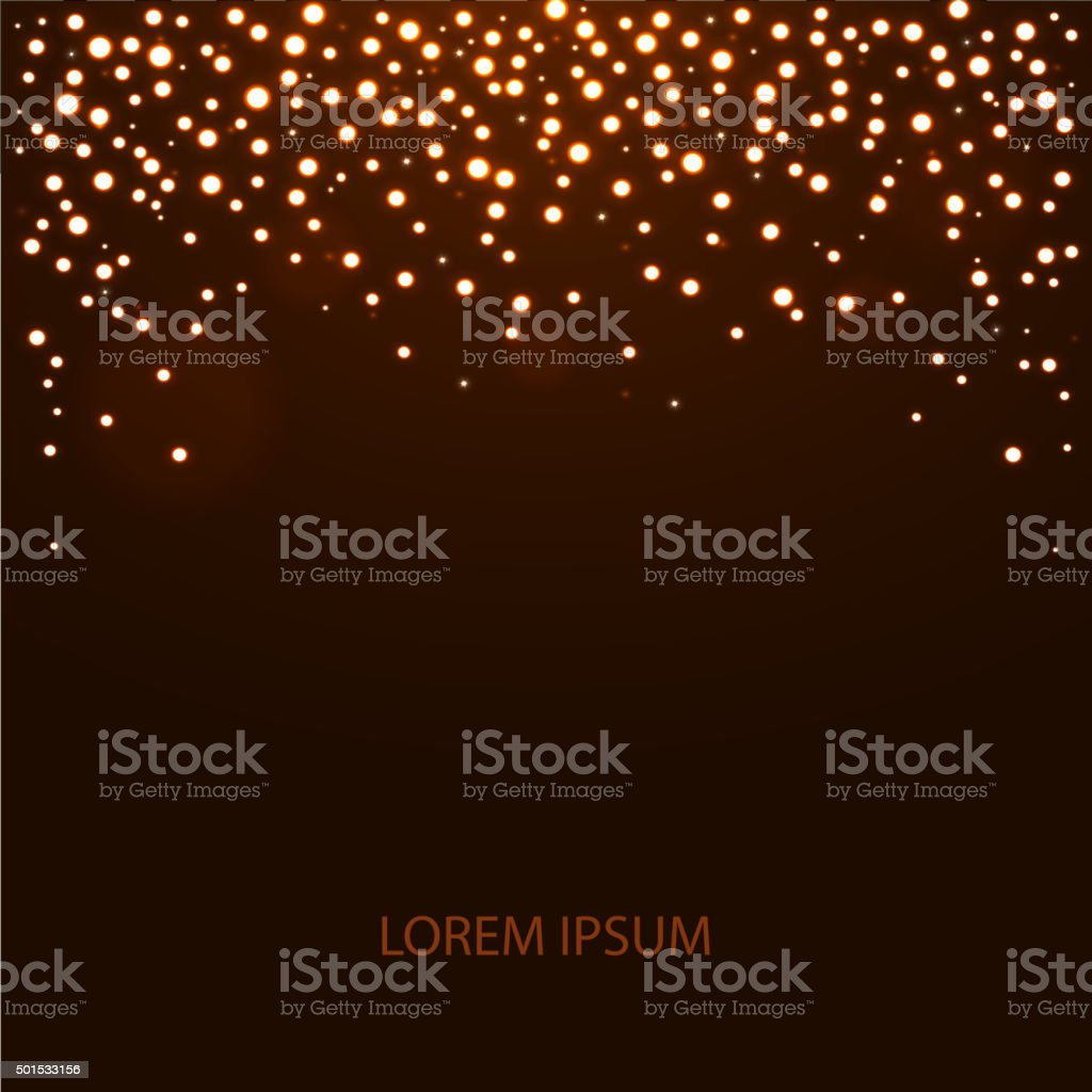 Abstract falling lights background with place for text vector art illustration