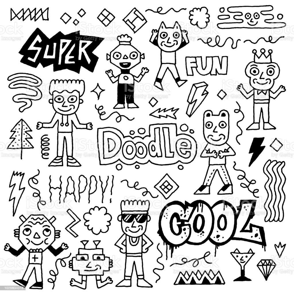 Jeu De Caractères Abstraite Doodle Cool Fantastique Dessin