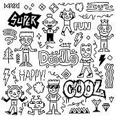 Abstract Fantastic Cool Doodle Characters Set. Black And White Drawing. Vector Illustration.