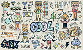 Abstract Fantastic Cool Doodle Characters Set. Color Drawing. Vector Illustration. Texture Background.