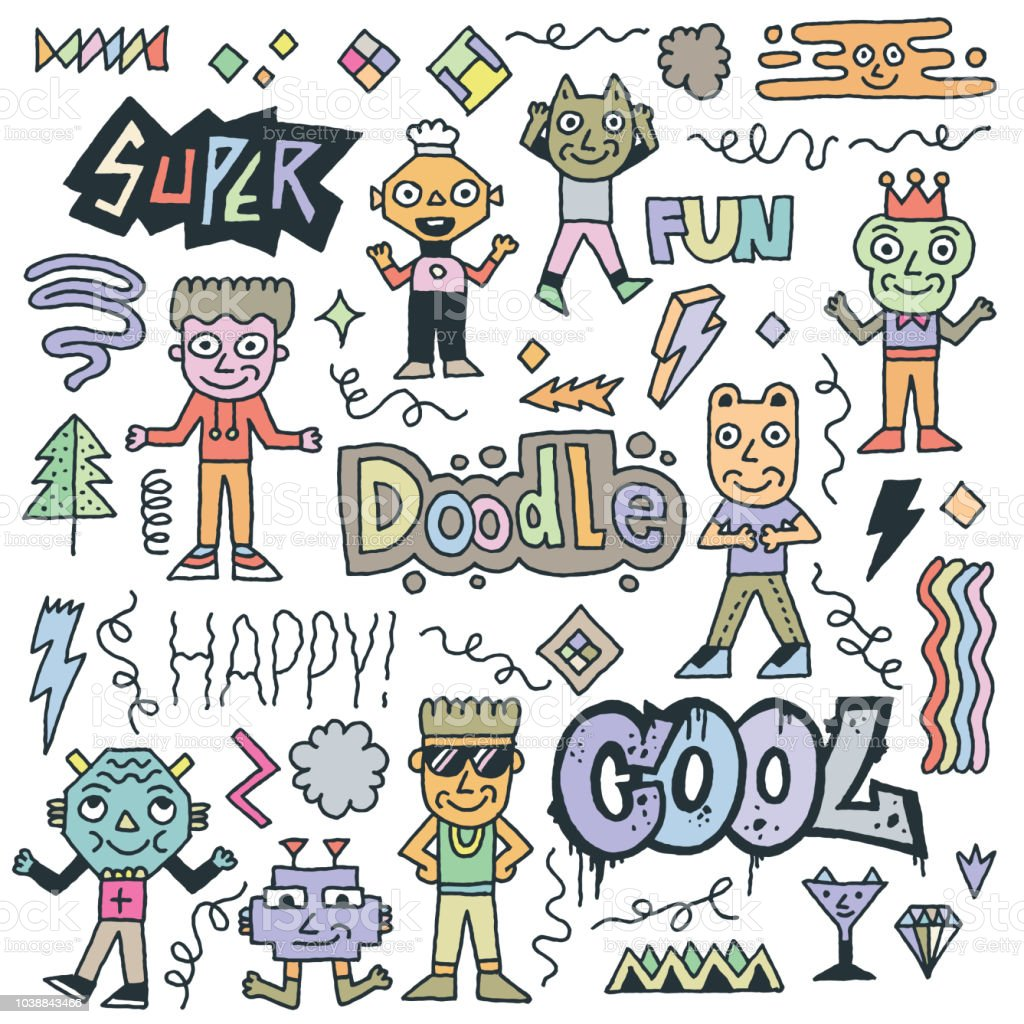 Abstract Fantastic Cool Doodle Characters Set. Color Drawing. Vector Illustration.
